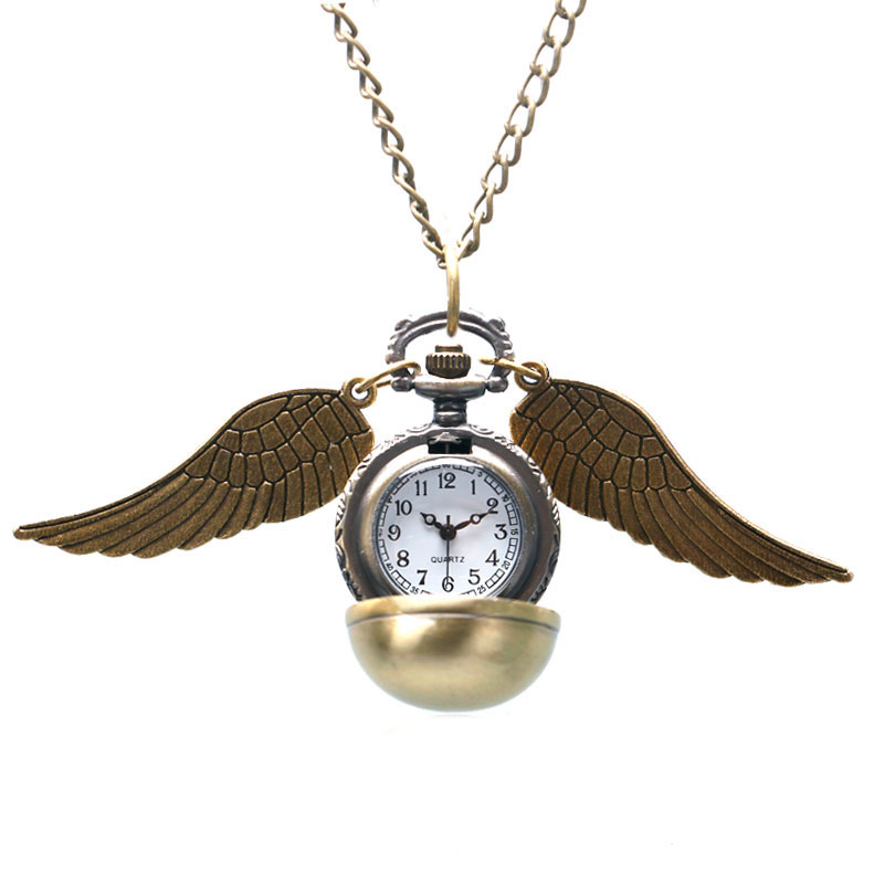 Cute Golden Ball with Wings Design Quartz Pocket Watch With Pendant Sweater Necklace Chain For Children Women
