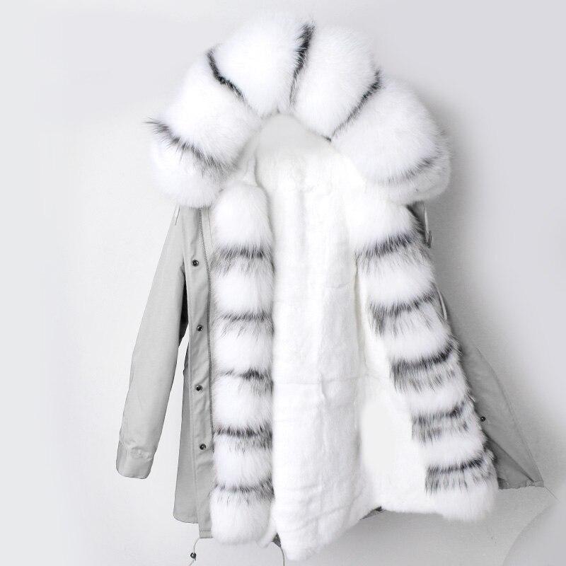 Lâche Veste Ins Réel Long D'hiver 3 Manteau Mode 6 Doublure Femmes Lapin Parka Rex Fourrure 4 Naturel De 5 Capot Col 2 1 Renard Nouveau qIxwZranI