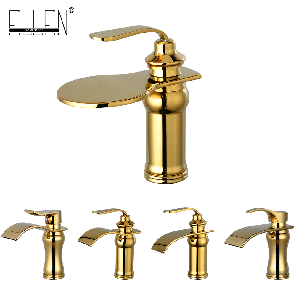 Luxury Waterfall Bathroom Basin Faucet Golden Single Handle Hot and Cold Water Tap micoe hot and cold water basin faucet mixer single handle single hole modern style chrome tap square multi function m hc203