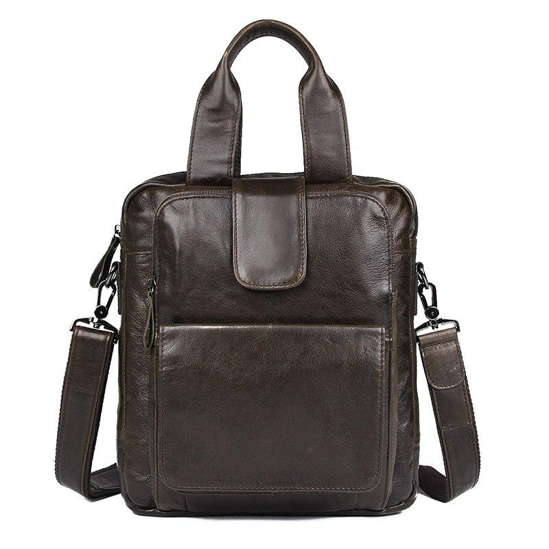 купить J.M.DJ.M.D Vintage Genuine Leather Men's Handbag Fashional Grey Small Messenger Bag Top Handle Leather Bag 7266J онлайн