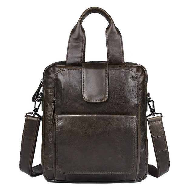 J M Dj D Vintage Genuine Leather Men S Handbag Fashional Grey Small Messenger Bag Top Handle