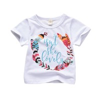 Pullover Cotton O Neck Casual Print Summer Baby Boys Girls Casual Short Sleeve Letter Print T shirt Tops+Shorts Costume Set New