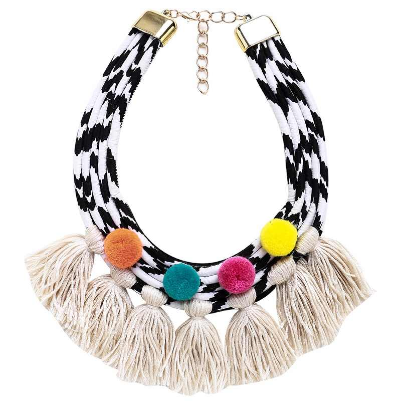 European and American exaggerated multilayer knitted tassel pompon short style necklace Bohemian party necklace
