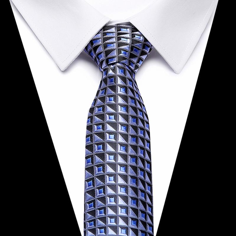 Fashion Mens Accessories Check Pattern Business Silk Tie Geometric Jacquard Woven Necktie for Men 8cm width in Men 39 s Ties amp Handkerchiefs from Apparel Accessories