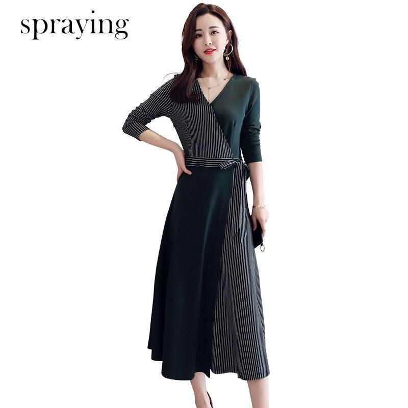 Temperament 2019 spring elegant women dress wild stitching V neck long sleeved Korean dresses Bow belt