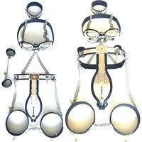 5 unids/set Acero inoxidable cinturón de castidad bondage collar Dispositivo de Castidad cinturón de castidad masculina esposas para hombres G7-4-27
