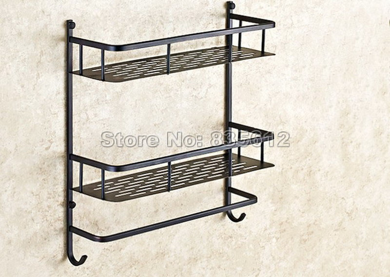 Black Oil Rubbed Brass Shelves 2-Tier Basket Wall Mounted Bathroom Shower Shelf Caddy Storage Wba526 poiqihy oil rubbed bronze glass brass wall mounted type dual tier bathroom bath accessories storage shelf shelves tower hanger