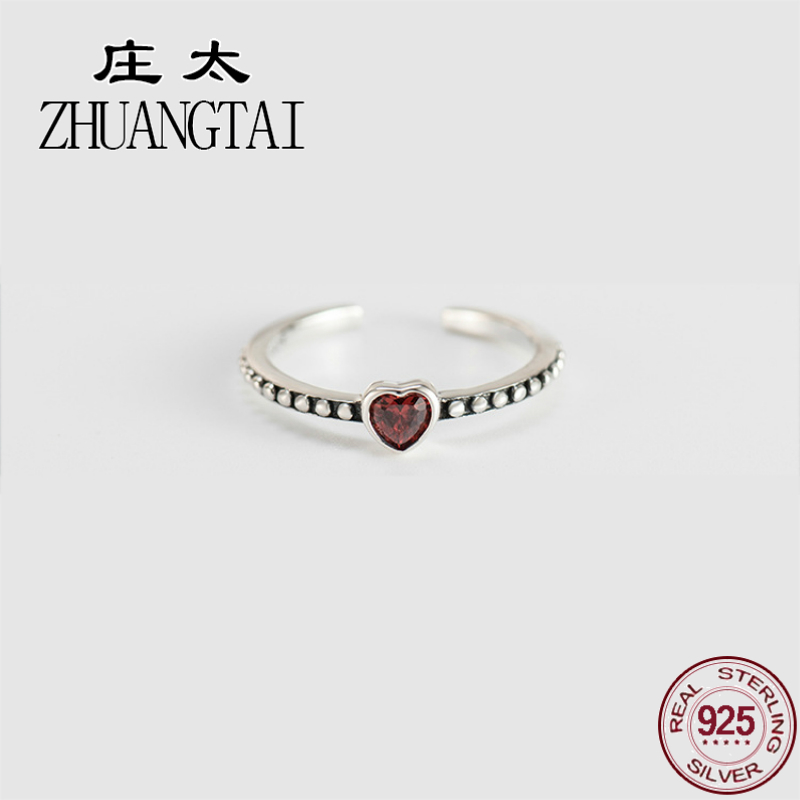 ZHUANGTAI Jewelry Real 925 Sterling Silver Love Heart Vintage Ring Ladies Finger Crystal Rings For Women Accessories Anillos