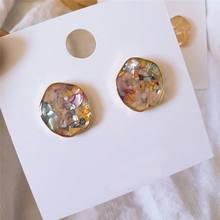 Korean Irregular Shell Earrings For Women Vintage Baroque Style Simple Fashion Jewelry Bijoux Small Earring