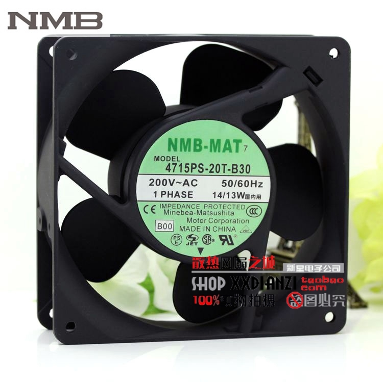 NMB 4715PS-20T-B30 200V 14/13W 12038 aluminum frame suitable for 220V industrial case cooling fan nmb new fan 4715ps 20t b30 200v 14 13w 12038 12cm aluminum frame industrial fan 10pcs lot