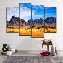 Modular Combinatorial Art 4 Piece African Savanna Landscape Mountains Picture On Canvas Print Painting Home Wall Decor