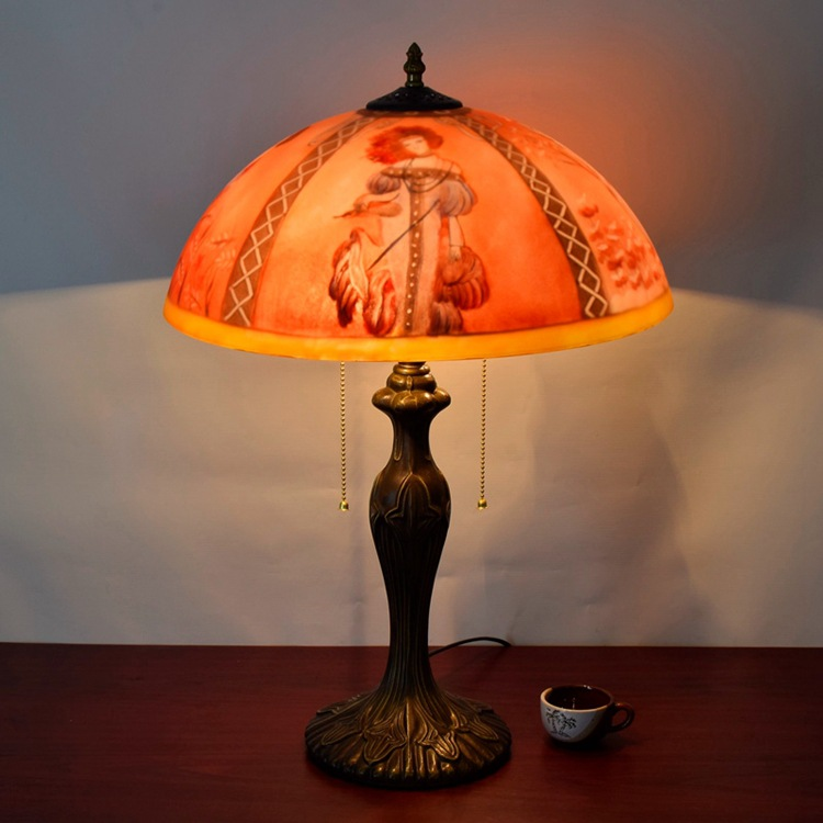 RETRO art glass oil painting lamp beauty painting personalized living room decorative sofa table lamp Red Festival lighting e27