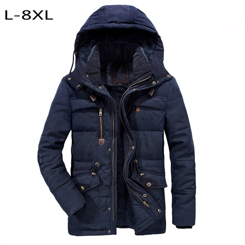 7XL 8XL Men's Cotton-coats Thick Jacket Thermal Wool Outerwear Men Hip Hop Joggers Clothes Winter Jacket Windbreaker Military