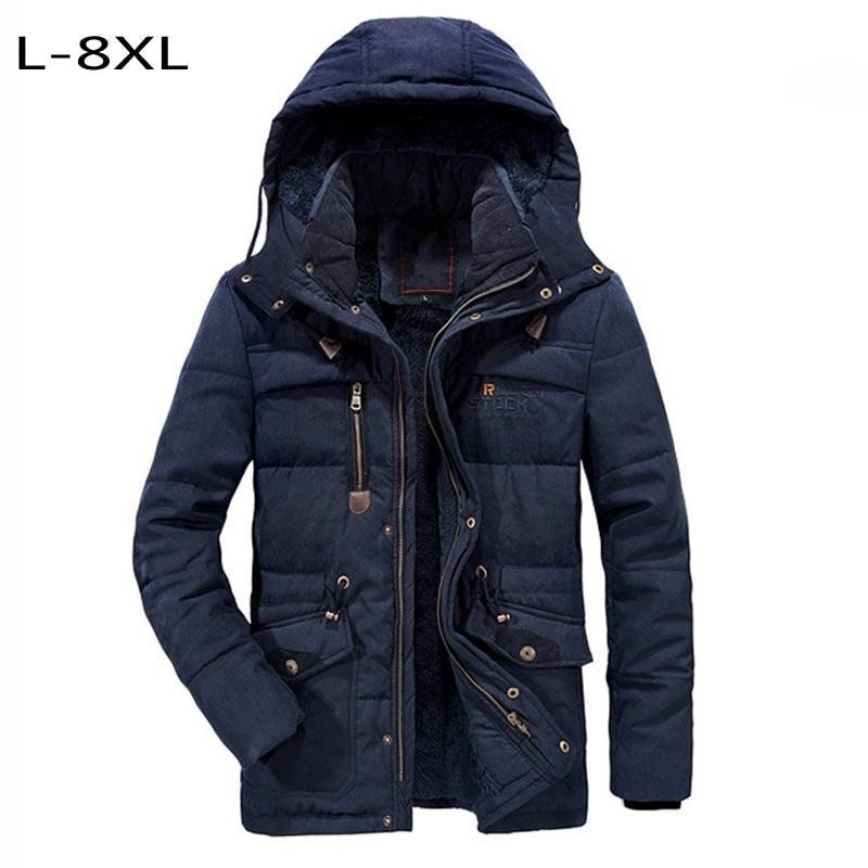 7XL 8XL men's Cotton coats thick jacket thermal Wool outerwear men hip hop joggers clothes winter jacket windbreaker military