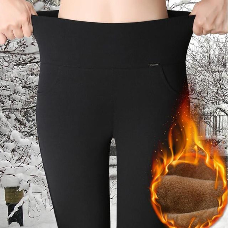 WKOUD Jeggings Winter Warm   Leggings   Women's High Waist Black Solid Pencil Pants Blue Thicken Full Length Lady Trousers P8627