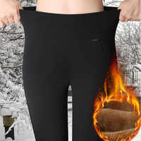 WKOUD Jeggings Winter Warme Leggings frauen Hohe Taille Schwarz Feste Bleistift Hosen Blau Verdicken Volle Länge Dame Hosen P8627