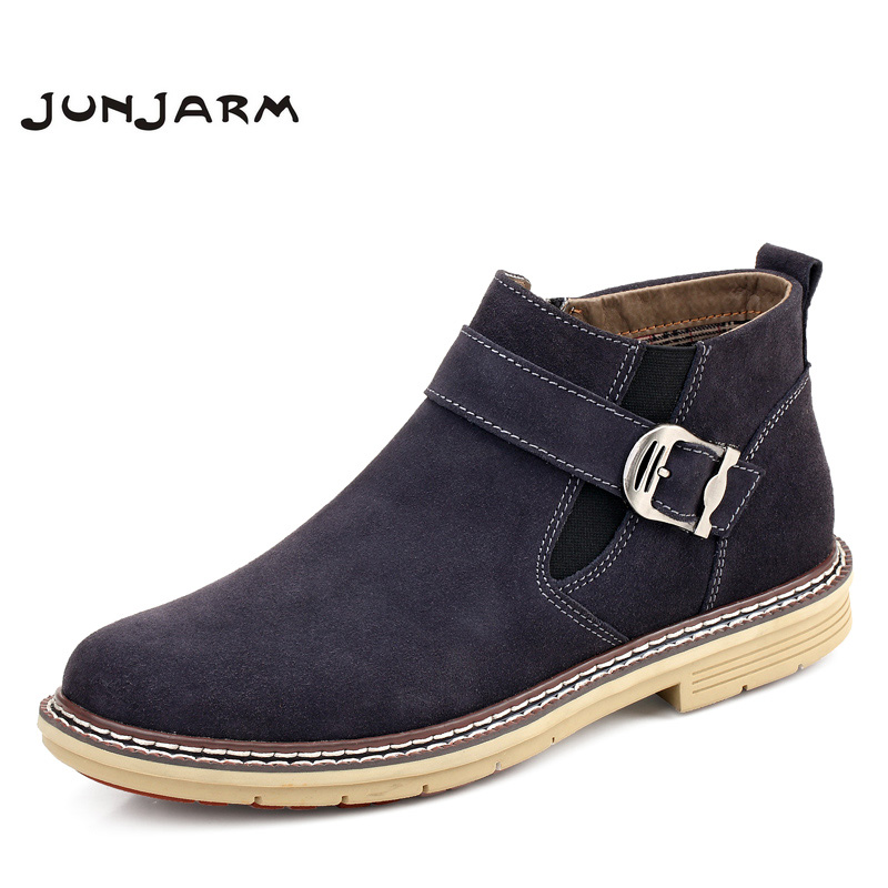 JUNJARM 2017 Men Ankle Boots High Quality Genuine Leather Men Boots Warm Outdoor Men Chelsea Boots Fashion Men Winter Shoes38-47