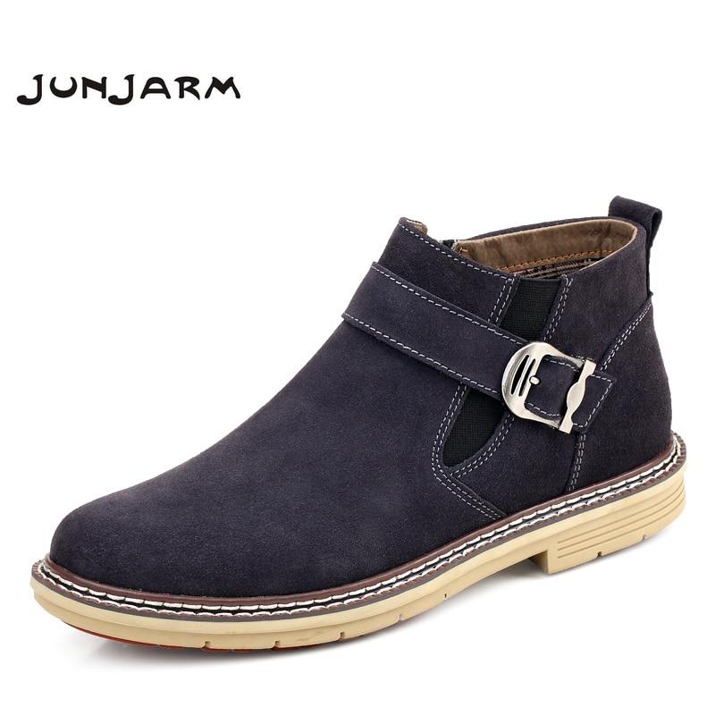 JUNJARM 2017 Men Ankle Boots High Quality Genuine Leather Men Boots Warm Outdoor Men Chelsea Boots Fashion Men Winter Shoes38-47