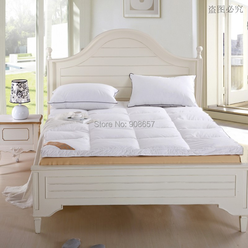 NEW 5KG King Size Bed White Thickening Folding Luxury Duck Down Mattress Topper 100% Cotton Shell 95% Duck Down Filling Quilted