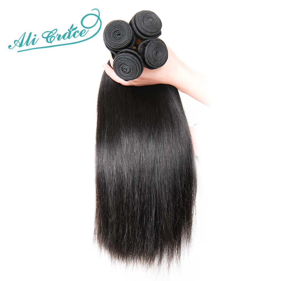 Ali Grace Hair Brazilian Straight Hair Bundles With Closure 4*4 Middle Free Part 2 Option 100% Remy Human Hair With Closure