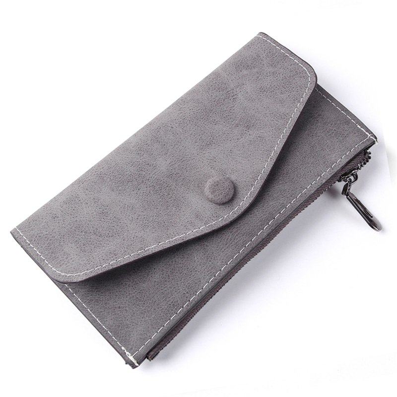 Vintage Fashion Women Scrub Pu Wallet Envelope Bags Femlae Long Ultrathin Functional Phone Money Purse Card Holders