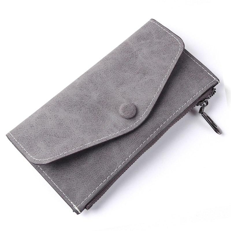Vintage Fashion Women Scrub Pu Wallet Envelope Bags Femlae Long Ultrathin Functional Phone Money Purse Card Holders