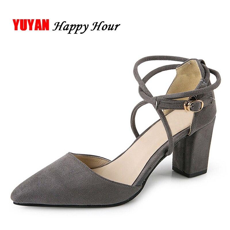 Купить 2018 новые летние босоножки на высоком каблуке Пикантный острый  носок Брендовая обувь стильные женские босоножки Туфли лодочки толстый кабл. 5b16668f6808e