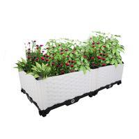 Single Row 5 Size Garden Outdoor DIY Plastic Planter Box Pots Vegetables Flowers Succulents White BS020/1/3/5/7/9