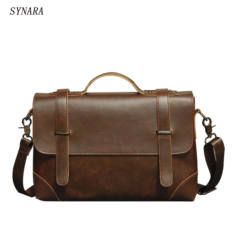 The New 2016 Retro Men's Bags Document The Single Shoulder Bag Men's Casual Bags Inclined Shoulder Bag Crazy Horse Leather