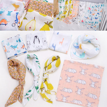 Muslinlife 2019 New Style Bamboo Cotton Baby Blanket Bibs Bandana Soft Infant Burp Cloths Kerchief Newborn Wrap Swaddle Scarf 1