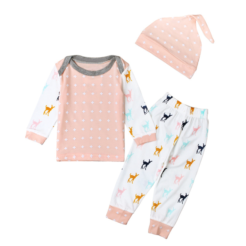 Deer Christmas Costume Baby Girl Clothes Sets Cotton Baby Pajamas Shirt + Pants + Hat 3pcs Suits Spring Autumn Baby Outfits