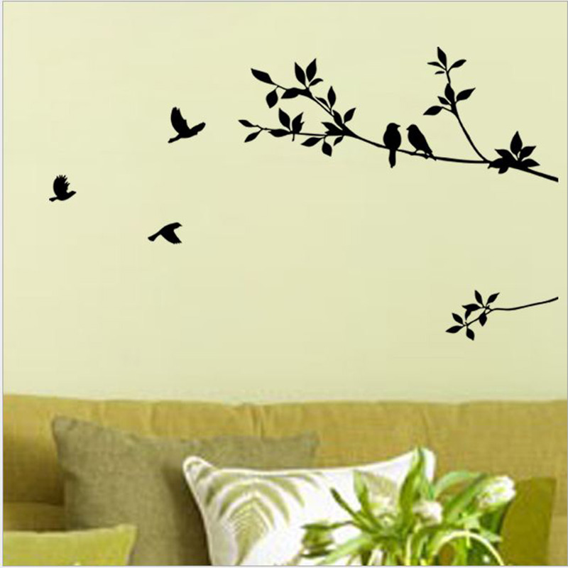 Home Decor Cheap New Branch Bird Carved Decorative Diy Wall Stickers Livingroom Bedroom Accessories 5zcx108