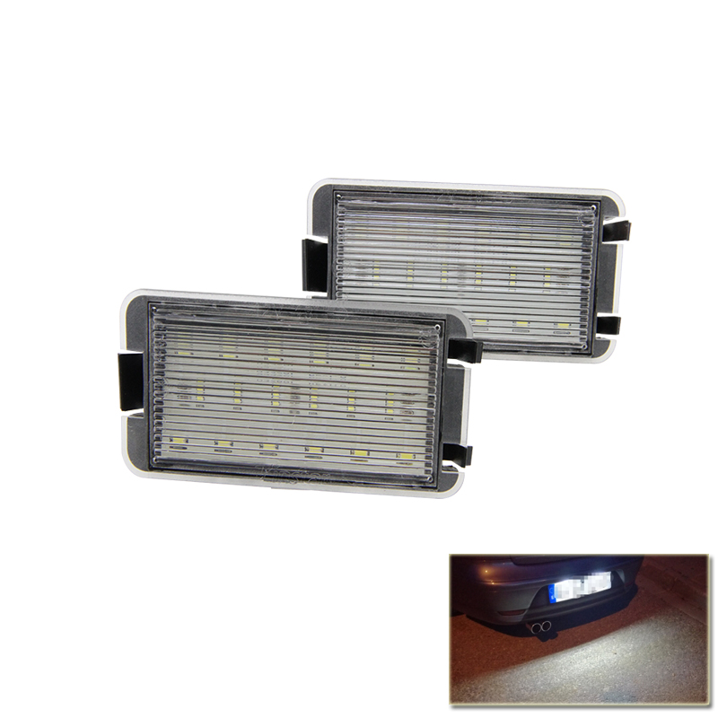 2x 18SMD Led License Plate Light For 99-05 Seat Leon 1M 04-09 Altea Arosa Cordoba MK1 MK2 Ibiza Toledo 5P Car-Styling 2pcs led licence plate light number plate lamp for seat altea arosa cordoba ibiza toledo 6000k white