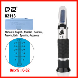 RZ High Quality Brix Refractometer  Optical Sugar Food Beverages Handheld Tool 0~32% RHB-32ATC RZ113
