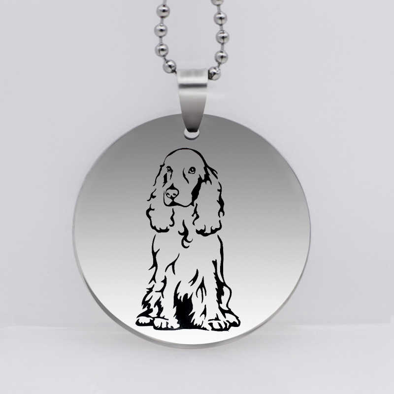 PAW PRINT Stainless Steel Cocker Spaniel Dog Pendant Necklace Animal Jewelry Pet Necklace for Women Gift Drop Shipping YLQ6276