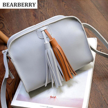 BEARBERR 2017 vintage style women leather flap bags tassel cross body bags shoulder phone bags for girls 3 colors  MN149