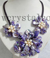 Charming Real Cultured Freshwater Pearl Purple Shell Flower Necklace Leather