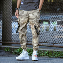 Hip Streetwear Mens Camouflage Joggers Pants 2019 Men Ribbons Cotton Cargo Pant Trousers Elastic Waist Harem