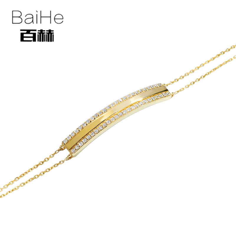 BAIHE Solid 14K Yellow Gold 0.25ct Certified H/SI 100% Genuine Natural Diamonds Wedding Women Trendy Fine Jewelry Gift Bracelet