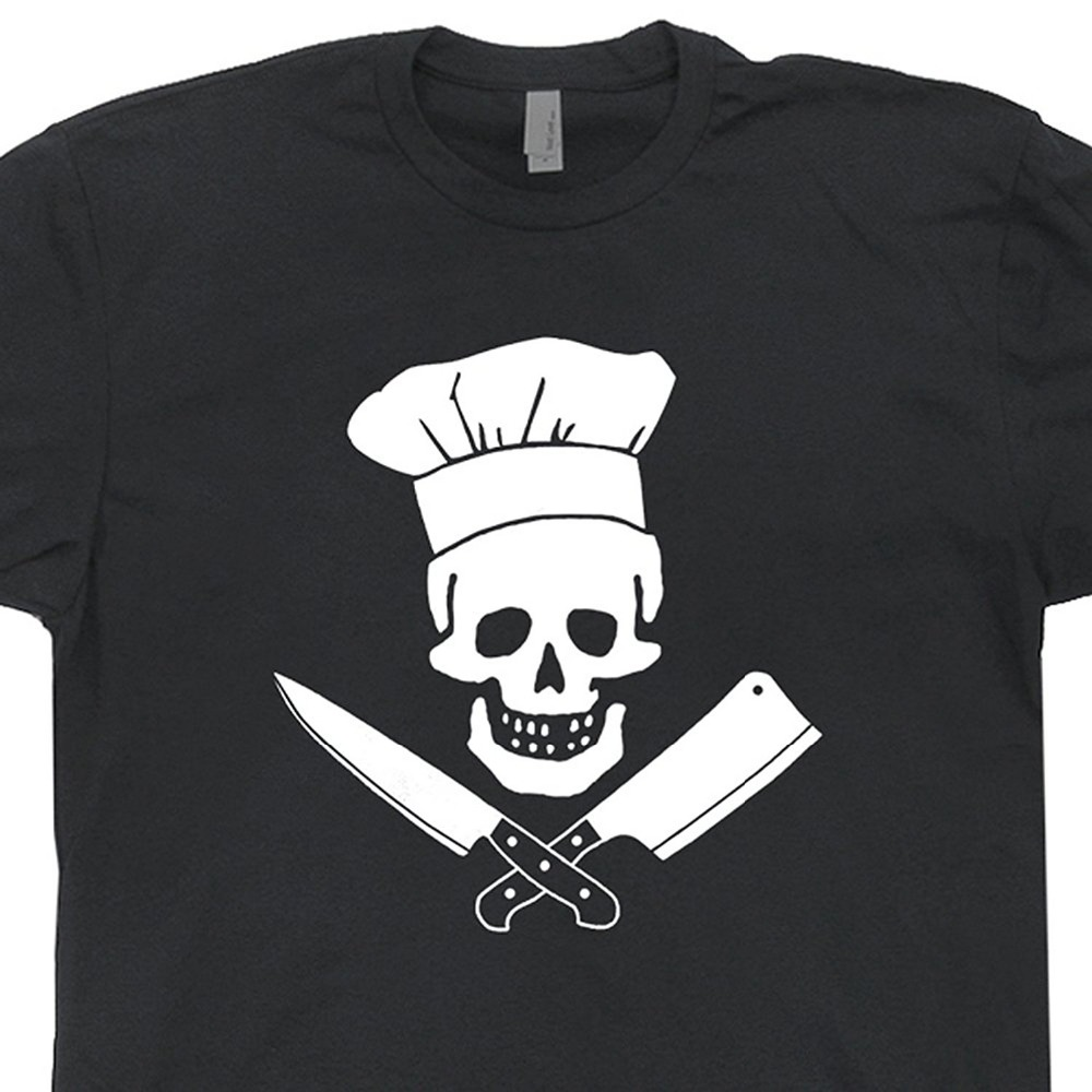 Masterchef apron (white) official merchandise - Chef Skull T Shirts Grill Master Tee Diet Culinary Grilling Bbq Apron Cooking Pants Hat Tee