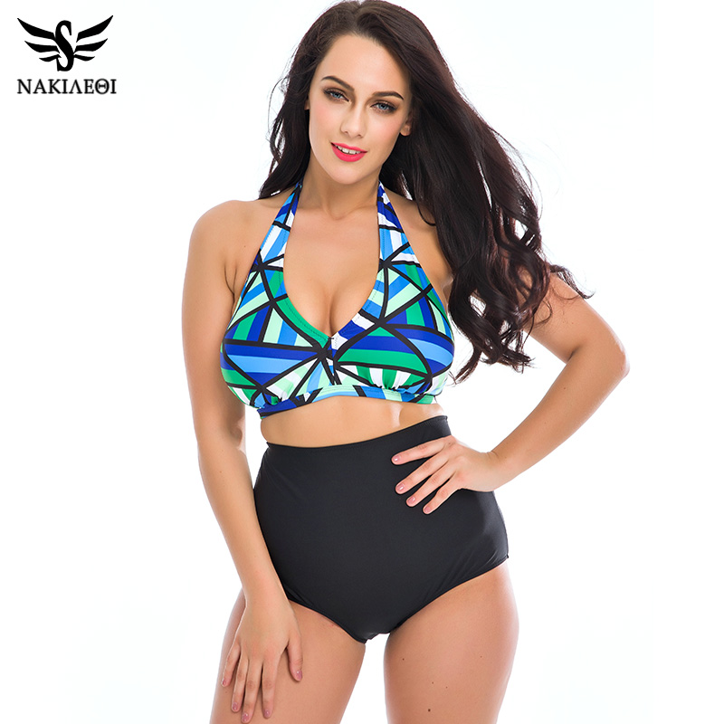 NAKIAEOI Plus Size Bikini Women Swimwear 2018 Summer Beach Bathing Suits Push Up Bikini Set High Waisted Swimsuit Swimming Suits