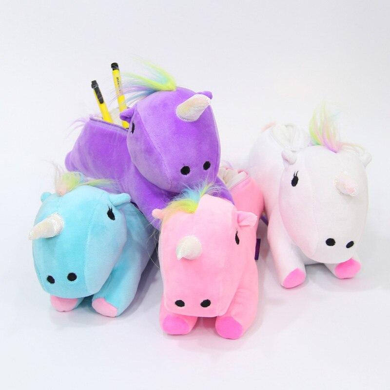 Korean Stationery Creative Kawaii Cute Unicorn Plush Pencil Case With Hook Cute Novelty Pen Bags For Kids Gift School Supplies