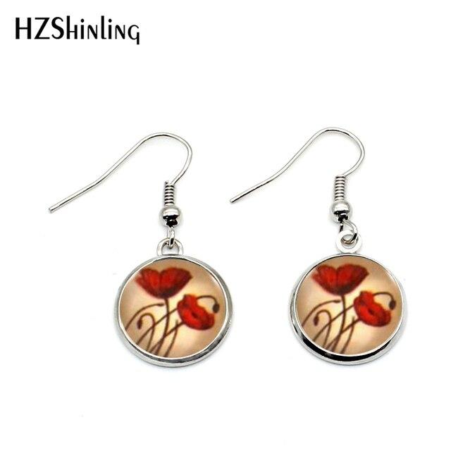 527aa8724 NHE-0022 Red Poppy Earrings Poppies Jewelry For Women Beautiful Flowers  Earring Art Vintage Dangle