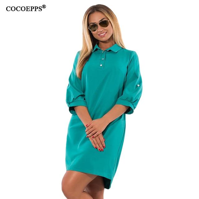 Cocoepps осень-зима новые женские Платья для женщин Повседневное плюс Размеры свободные дамы деловая модельная одежда большой Размеры три четверти синий Vestidos 5XL 6XL