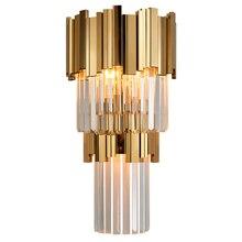 Phube iluminação pós moderna arandela de parede de cristal de luz de parede de luxo criativo quente corredor quarto lâmpada de cabeceira