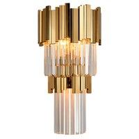 Phube 照明ポストモダンクリスタル壁燭台ライトクリスタルウォール壁高級クリエイティブ暖かい廊下寝室のベッドサイドランプ -