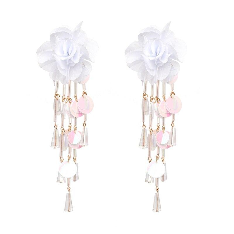 JUJIA Bohemian Long Flower Earrings Pom Pom Big Statement Earrings Fringe Drop Earrings Women Jewelry 27