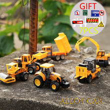 6PCS/lot Mini Diecast Construction Vehicle 7 Styles Model Metal toys Cars Tractor Toy Dump Truck Model Alloy Toy Car