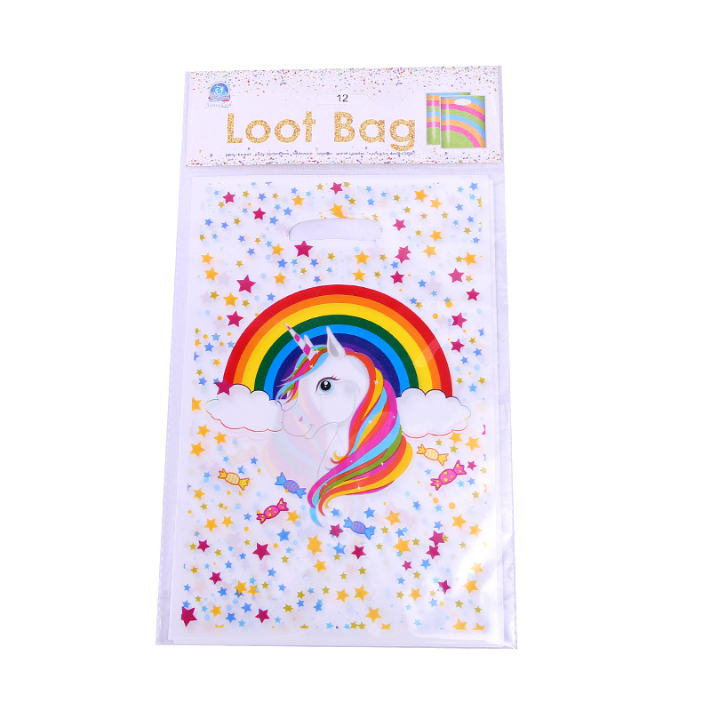 6pcs New Unicorn Theme Plastic Return Gift Loot Bag Birthday Party Supplies Child Kids Decoration Candy Bags Cartoon Pattern
