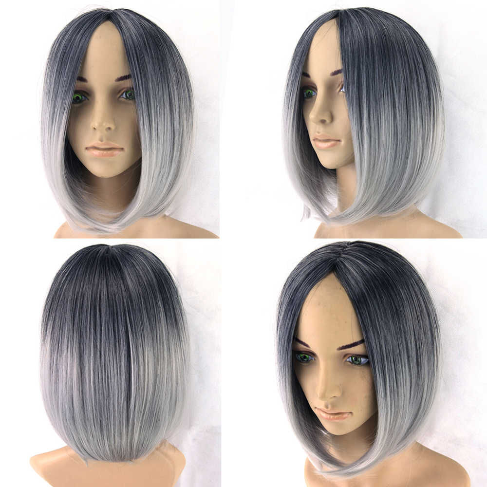 Omber Wig Grey Wig Black To Gray Short Women Hair Wigs Synthetic Heat Resistant Hair Cosplay Wig